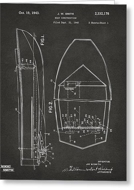 1943 Chris Craft Boat Patent Artwork - Gray Greeting Card