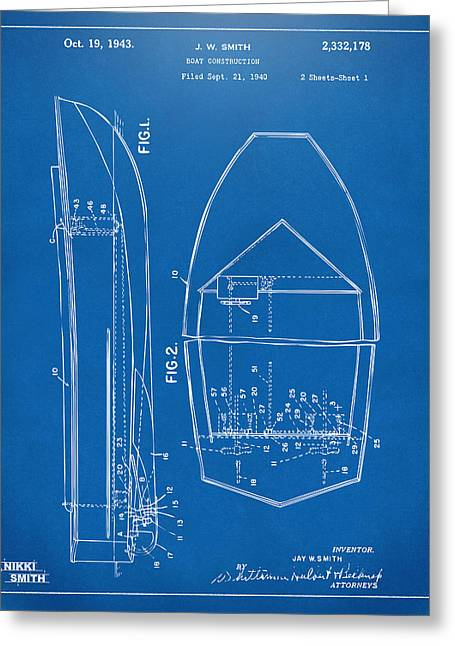 1943 Chris Craft Boat Patent Blueprint Greeting Card by Nikki Marie Smith