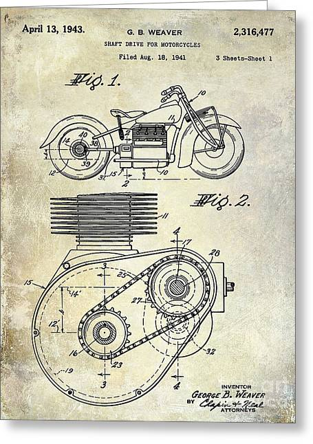1943 Indian Motorcycle Patent Drawing Greeting Card