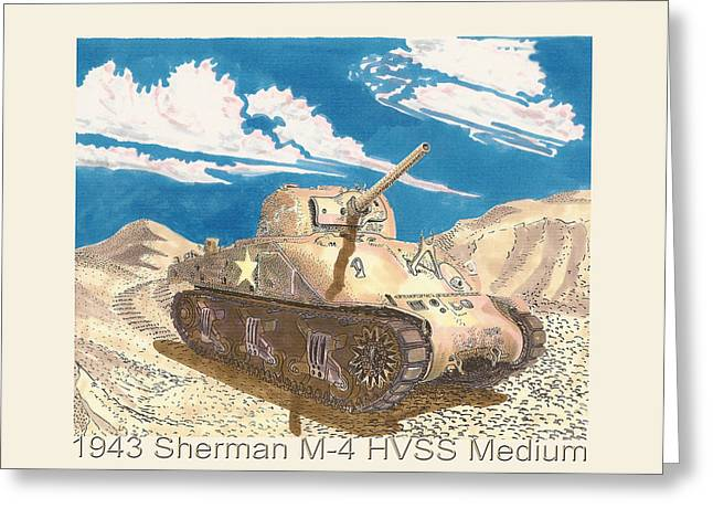 1943 Sherman M 4 Medium Taqnk Greeting Card by Jack Pumphrey