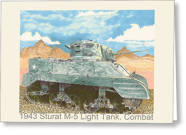 1943 Stuart M-5 Light Tank Combat Greeting Card by Jack Pumphrey