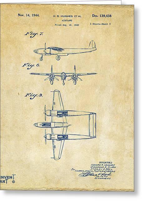 1944 Howard Hughes Airplane Patent Artwork 3 Vintage Greeting Card