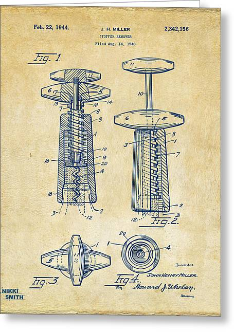 1944 Wine Corkscrew Patent Artwork - Vintage Greeting Card