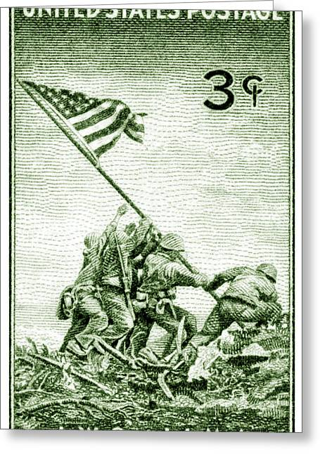 1945 Marines On Iwo Jima Stamp Greeting Card by Historic Image