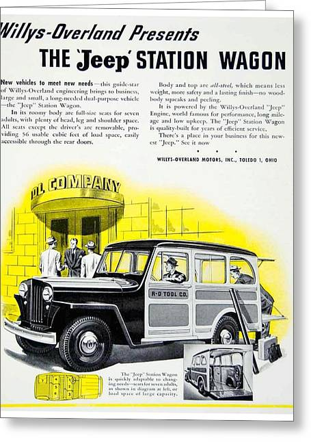 1946 - Willys Overland Jeep Station Wagon Advertisement - Color Greeting Card