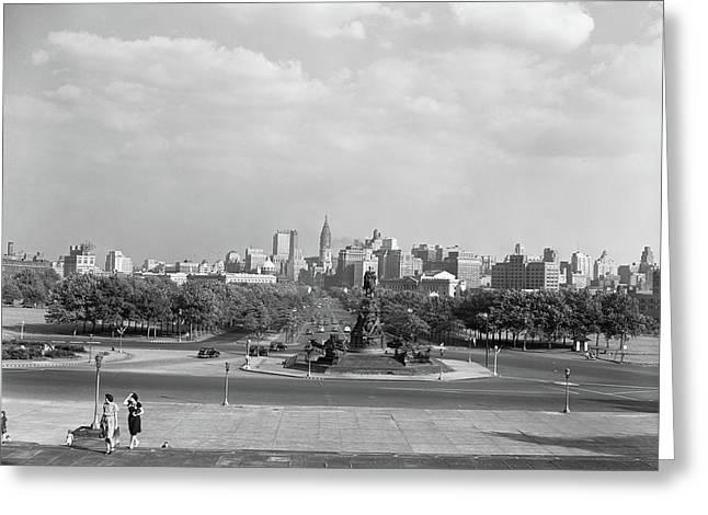 1946 Skyline Of Philadelphia From Steps Greeting Card