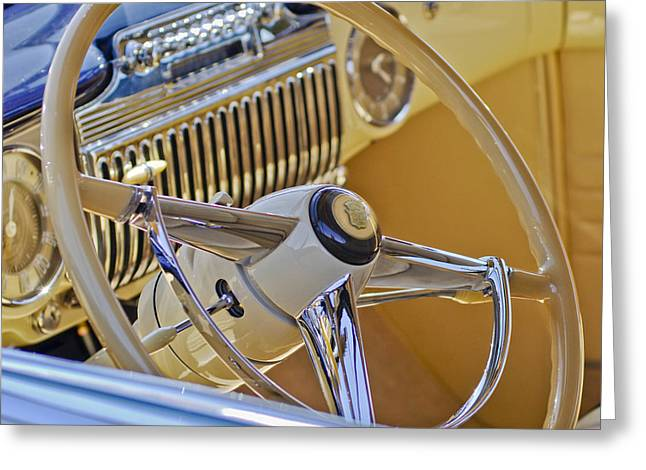 1947 Cadillac 62 Steering Wheel Greeting Card by Jill Reger