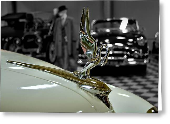 1947 Packard Hood Ornimate Greeting Card by Michael Gordon