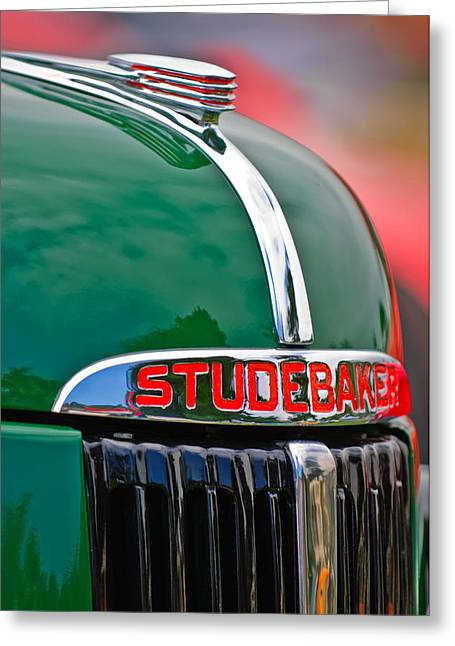 1947 Studebaker M5 Pickup Truck Grill Emblem - Hood Ornament Greeting Card