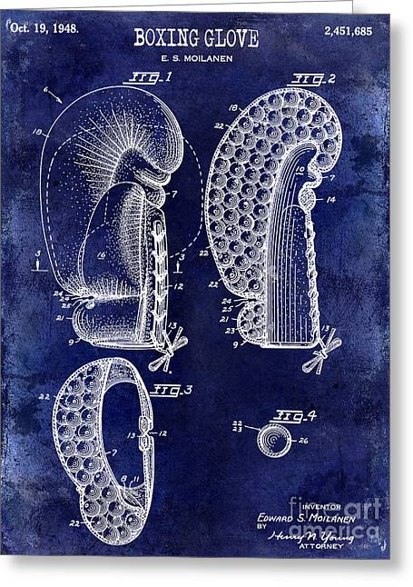 1948 Boxing Glove Patent Drawing Blue Greeting Card by Jon Neidert