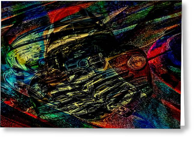 1948 Chevy Abstract Art Greeting Card by Lesa Fine