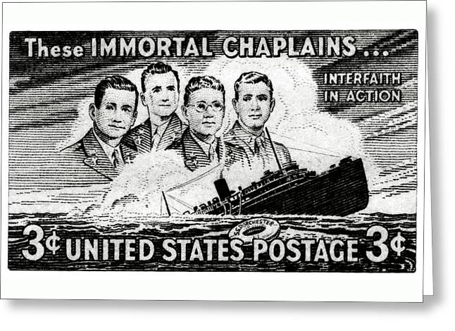 1948 Immortal Chaplains Stamp Greeting Card by Historic Image