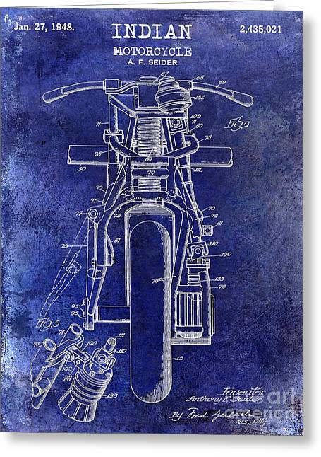 1948 Indian Motorcycle Patent Drawing Blue Greeting Card