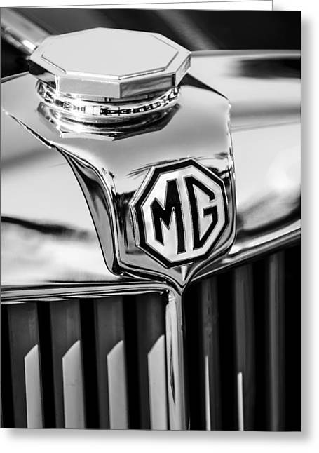 1948 Mg Tc Hood Ornament -767bw Greeting Card