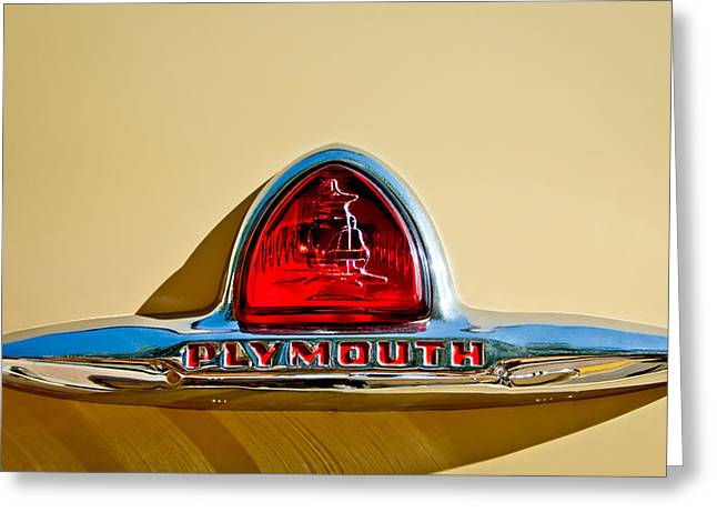 Transportation Greeting Cards - 1948 Plymouth Deluxe Emblem Greeting Card by Jill Reger