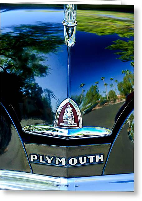 1948 Plymouth Special Deluxe Club Coupe Front Emblem -740c Greeting Card by Jill Reger
