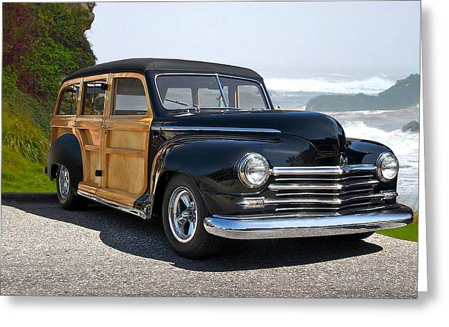 1948 Plymouth Special Deluxe Woody Wagon Greeting Card by Dave Koontz