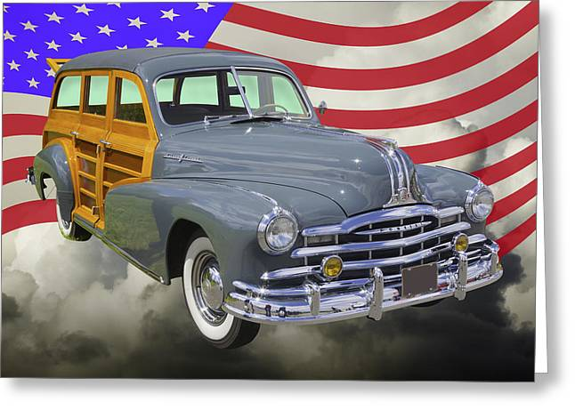 1948 Pontiac Silver Streak Woody And American Flag Greeting Card