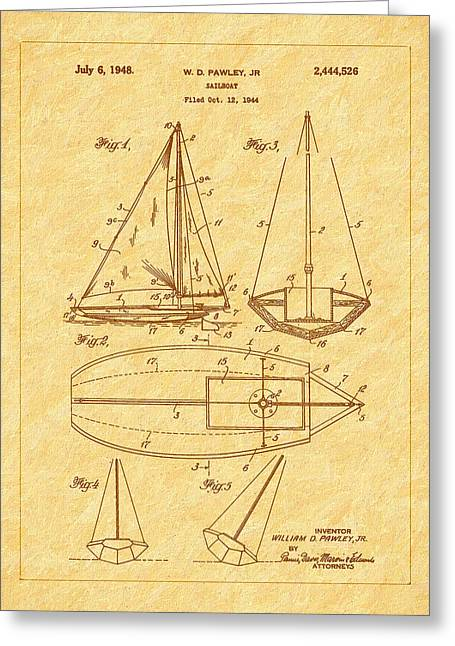 1948 Sailboat Patent Art Greeting Card by Barry Jones
