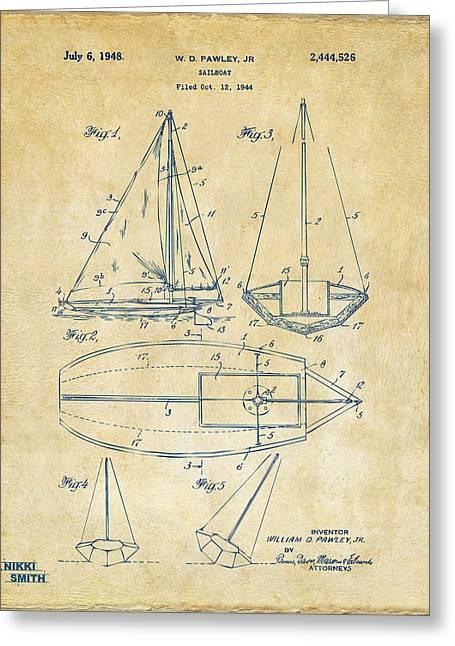 1948 Sailboat Patent Artwork - Vintage Greeting Card