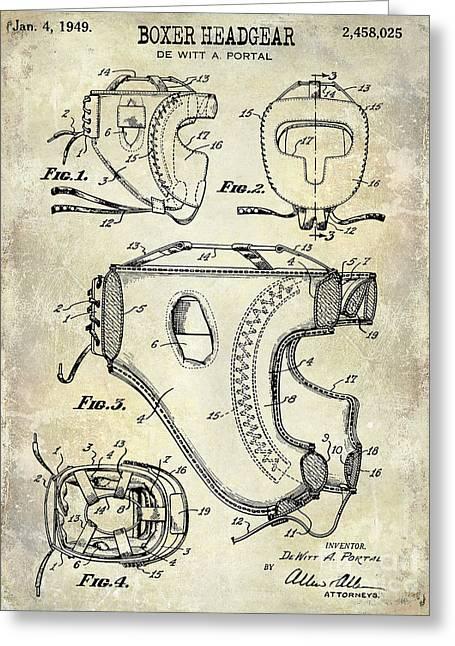1949 Boxer Headgear Patent Drawing  Greeting Card by Jon Neidert