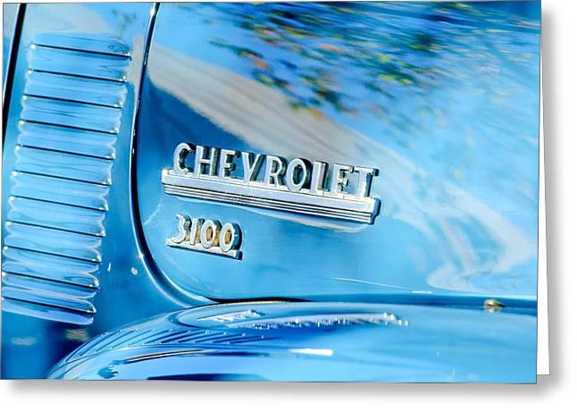 1949 Chevrolet 3100 Pickup Truck Emblem Greeting Card by Jill Reger