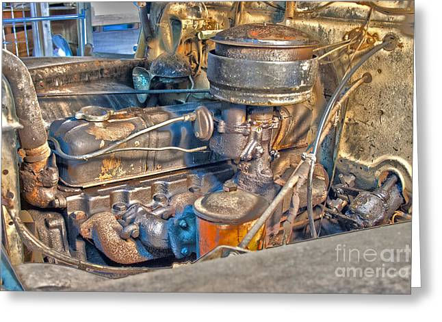 1949 Chevy Truck Engine Greeting Card by D Wallace