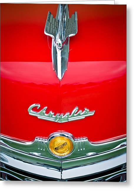 1949 Chrysler Town And Country Convertible Hood Ornament And Emblems Greeting Card by Jill Reger
