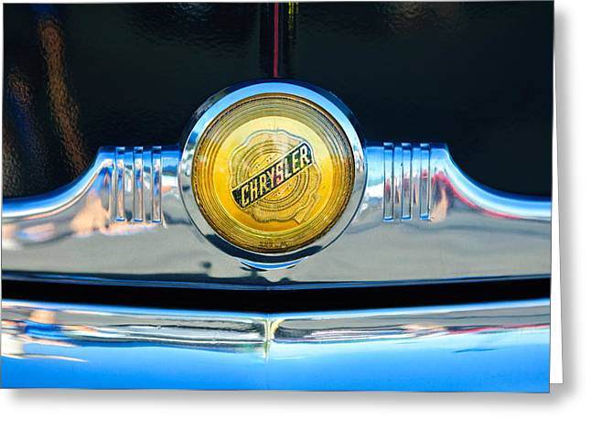 1949 Chrysler Windsor Grille Emblem Greeting Card by Jill Reger