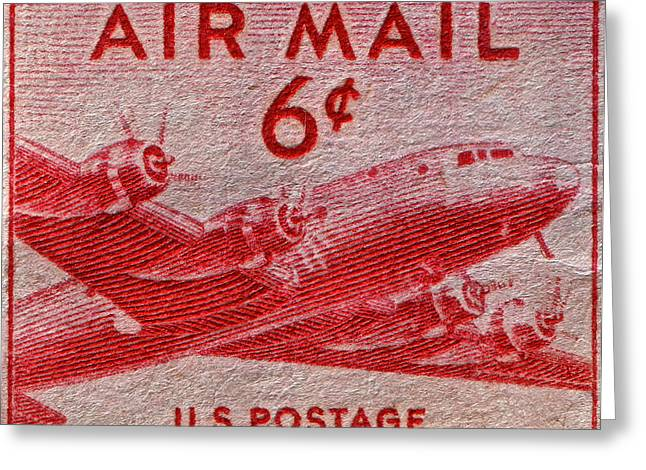 1949 Dc-4 Skymaster Air Mail Stamp Greeting Card by Bill Owen