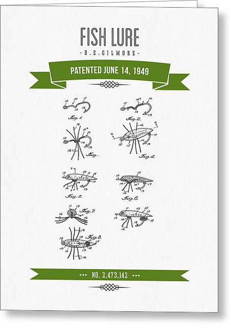 1949 Fish Lure Patent Drawing - Retro Green Greeting Card by Aged Pixel