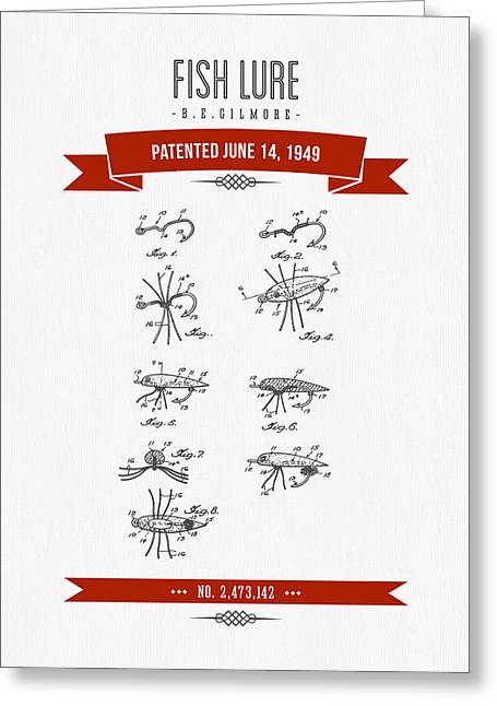 1949 Fish Lure Patent Drawing - Retro Red Greeting Card by Aged Pixel