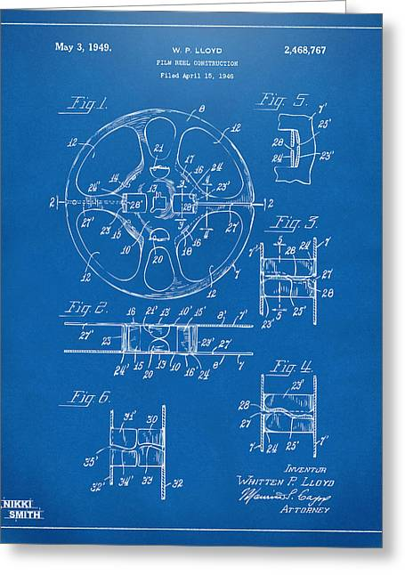 1949 Movie Film Reel Patent Artwork - Blueprint Greeting Card by Nikki Marie Smith