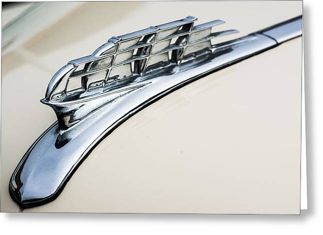 1949 Plymouth Hood Ornament Greeting Card