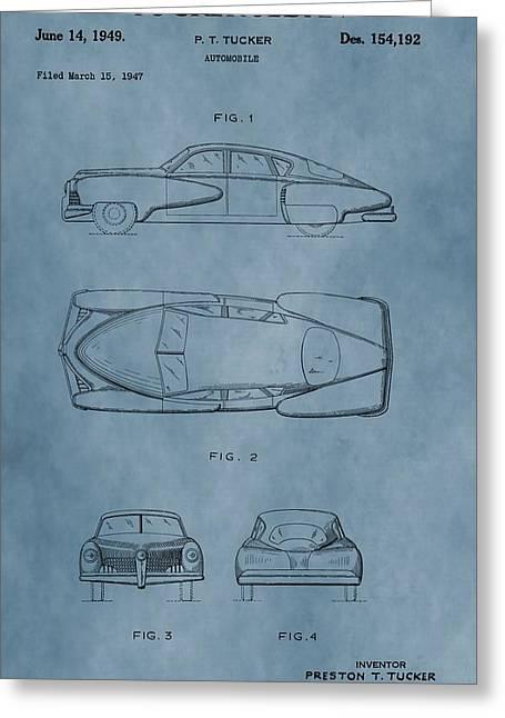 1949 Tucker Sedan Patent Blue Greeting Card by Dan Sproul