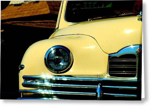 Greeting Card featuring the photograph 1950 Yellow Packard by Janette Boyd