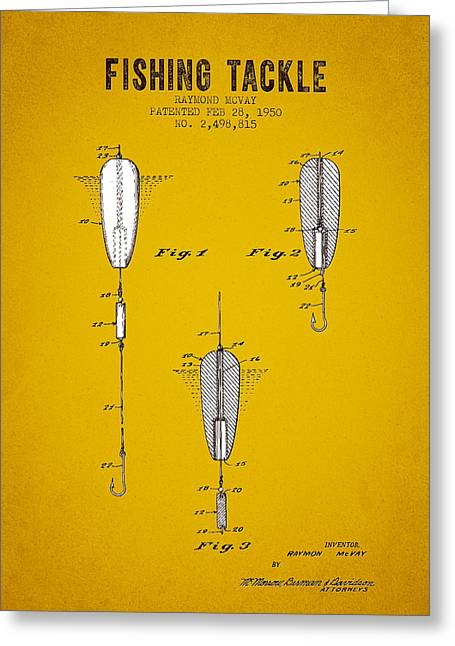 1950 Fishing Tackle Patent - Yellow Brown Greeting Card by Aged Pixel