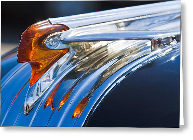 1950 Pontiac Silver Streak Hood Ornament Greeting Card by Jill Reger