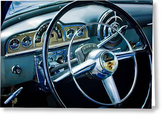 1950 Pontiac Steering Wheel Emblem 2 Greeting Card by Jill Reger
