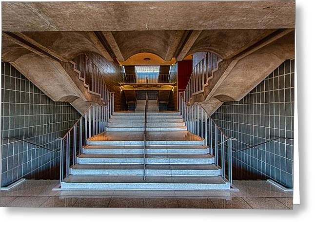 1950 Staircase Greeting Card by Mike Burgquist