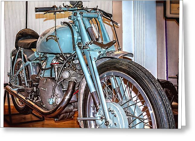 Greeting Card featuring the photograph 1950 Vincent Tt Flash by Steve Benefiel