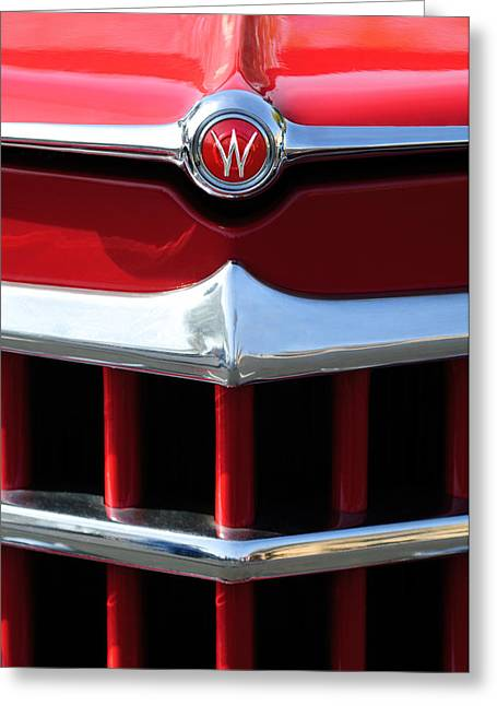 Greeting Card featuring the photograph 1950 Willys Overland Jeepster Hood Emblem by Jill Reger