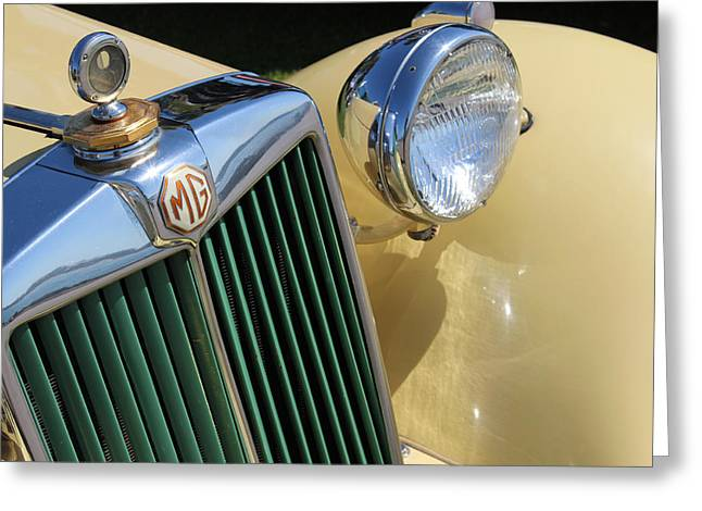 1950 Yellow Mg Grille Greeting Card by Mark Steven Burhart