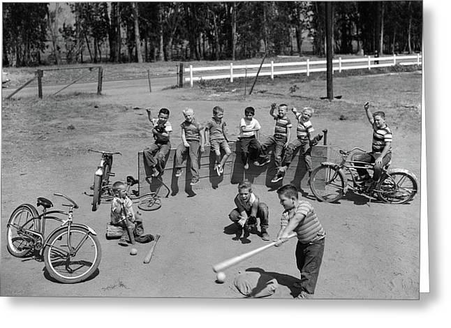 1950s 10 Neighborhood Boys Playing Sand Greeting Card