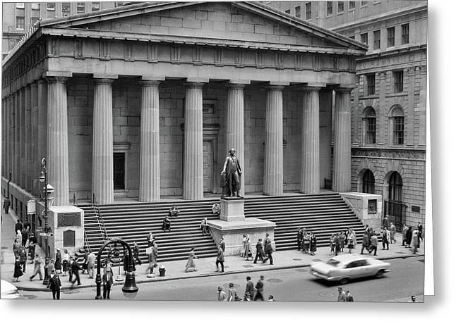 1950s 1958 Wall Street Federal Hall Greeting Card