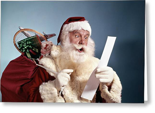1950s 1960s 1970s Surprised Santa Claus Greeting Card