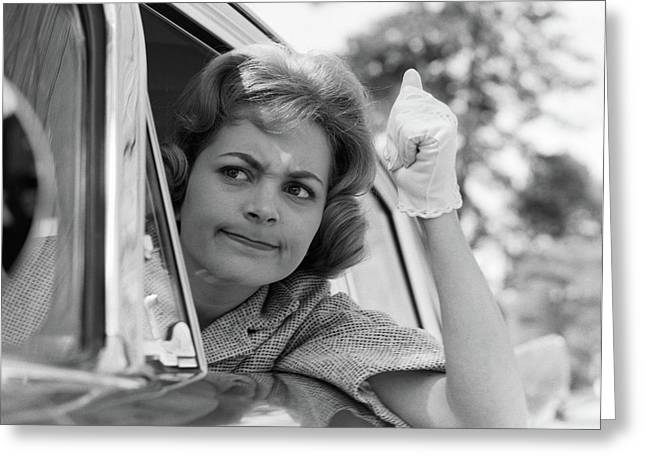 1950s 1960s Angry Woman Automobile Greeting Card