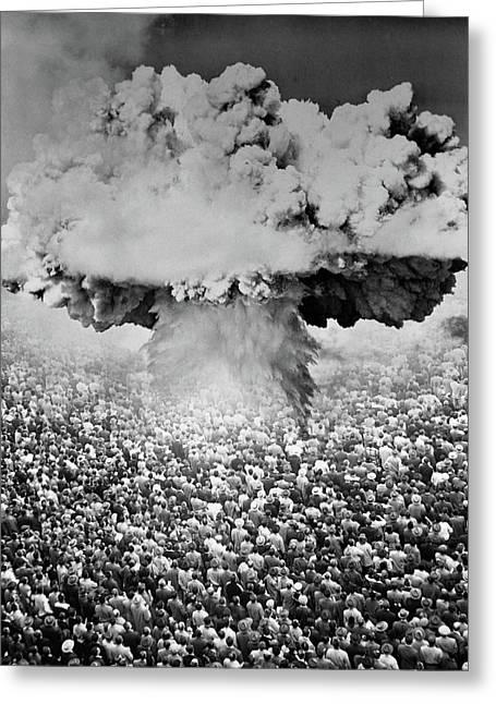1950s 1960s Atomic Bomb Symbolic Greeting Card