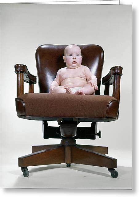 1950s 1960s Baby Sitting Office Chair Greeting Card