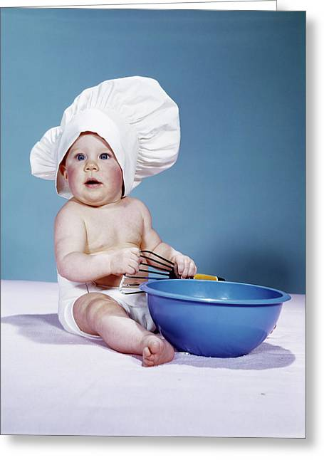 1950s 1960s Baby Wearing Chef Hat Toque Greeting Card